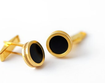 Silver cufflinks for men, black onyx cufflinks, wedding cufflinks, Personalized cufflink golden silver, father of the bride gift men jewelry