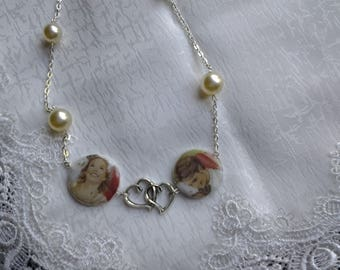 Necklace two cabochons couple in love and pearls