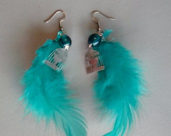 BO bird, turquoise, silver feather dangle EARRINGS