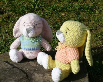 Knitted rabbit in sweater/knitted toys/amigurumi/knitted rabbit/knitted bunny/knitted toy/knit rabbit/bunny/rabbit/stuffed animal/soft toy