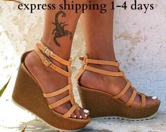 OPHELIA sandals/ cork wedge platform/ Greek leather sandal/ platform sandal/ gladiator sandal/ handmade sandals/ natural leather sandals
