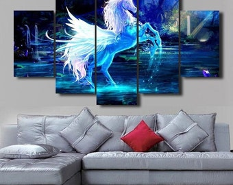 Blue Unicorn - split framed canvas print
