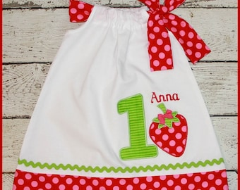 Berry Sweet Strawberry Birthday Pillowcase style dress name and age included Red and pink polka dot