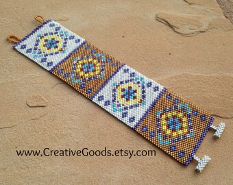 Southwest Diamonds Bracelet Pattern - Peyote Pattern