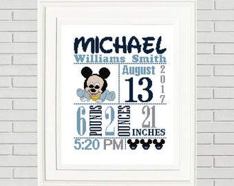 Mickey MouseBirth Announcement cross stitch pattern baby cross chart nursery cross stitch mickey mouse cross stitch disney cross chart