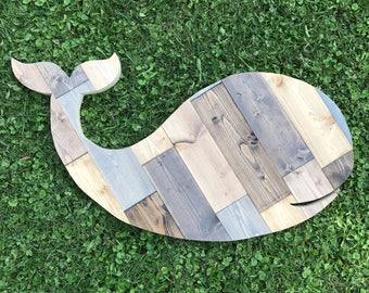 Rustic Wood Whale