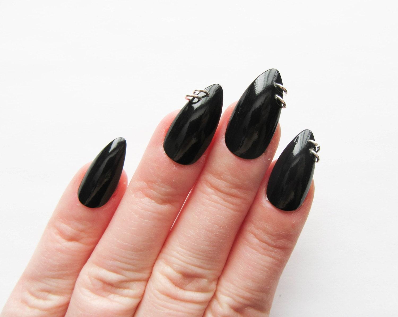 90s Pierced Black Nails / Fake Nails / Stiletto Nails / Press on ...