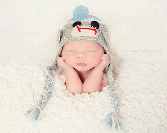 Boy Sock Monkey Earflap Hat Crochet Pattern Size Infants to Adults  and matching booties for babies onlyPDF 410