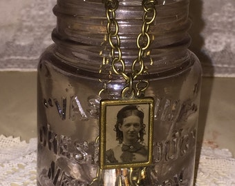 Victorian Gem Tin Type Photo Pendant and Chain Necklace