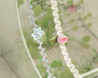 "5 meter 1cm 0.39"" wide ivory blue rose braid tapes lace trim ribbon R31G1209O0317G free ship"