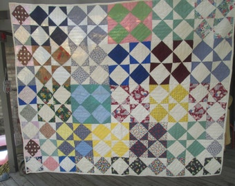Beautiful Antique Hand made hand stitched quilt Full Size Very good condition lined no stains diamond block pattern