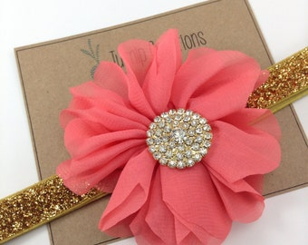 Coral & Gold Headband Ballerina Flower Headband Glitter Wedding Flower Girl Headband Rhinestone