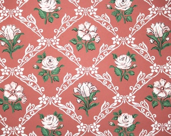 1940s Vintage Wallpaper by the Yard - White Roses and Lattice Vintage Wallpaper on Brick Red