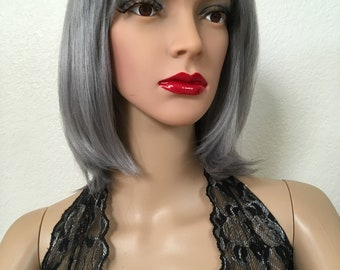 Gray wig ombré dark roots 12 inch long with bangs
