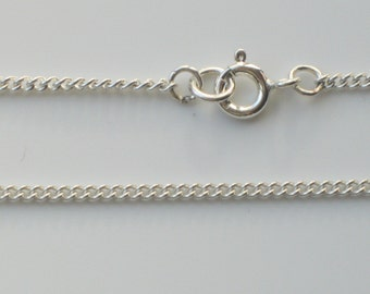 """925 Sterling Silver Curb Chain Bracelet Necklace Ankle Chain Anklet 6"""" to 30"""" - 1.6mm x 2.1mm Width Link"""
