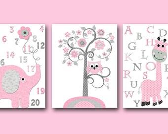 Pink Gray Canvas Wall Art Alphabet Nursery Prints Baby Girl Nursery Decor Kids Wall Art Kids Art Baby Room Decor Baby Nursery Decor set of 3