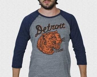 Detroit Tigers Shirt 1935 penant inspired design 3/4 sleeve raglan 1935 Penant World Series Champion Logo USA Made Opening Day 2018