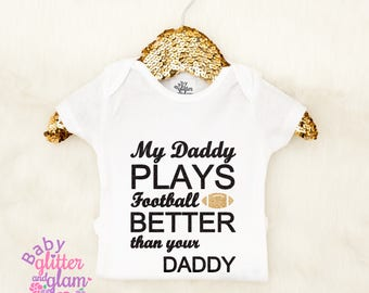 Baby Girl Football Shirt, My Daddy Plays Football Better Than Your Daddy, Daddy's MVP, Sunday Night Football, Baby Girl Football