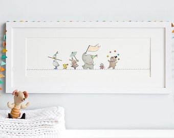 FRAMED Nursery Art, Tight Rope Friends, Circus Animals, Balancing Act, Circus Theme, Minimal modern, Kid's Art, Name & date can be added!