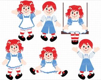 Clipart - Raggedy Annie / Rag Doll, cute doll, doll clipart, rag doll clipart, rag doll clipart, raggedy Andy, raggedy ann doll, rag doll