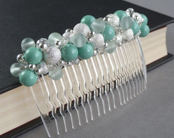 Aqua Stardust Hair Comb - Turquoise Pearl and Crystal Head Piece - Mint Green Bridal Party Gifts - Robins Egg Blue Bridesmaid Accessories