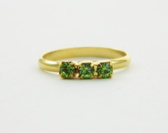 Peridot Three Stone Midi Ring