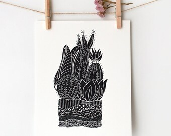 Bohemian Home Decor, Botanical Illustration Prints, Cactus Wall Art, Cactus Print, Boho Apartment, 8x10 Wall Art, Terrarium 2