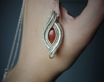 Flashy Sunstone Sterling Silver Wire Wrapped Gemstone Necklace