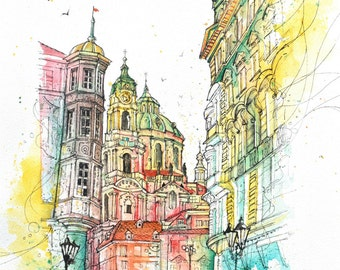 Walk Through Mala Strana, Prague Painting, Czech Republic, Street Art, Wall Art, Home Decor, Giclee Print