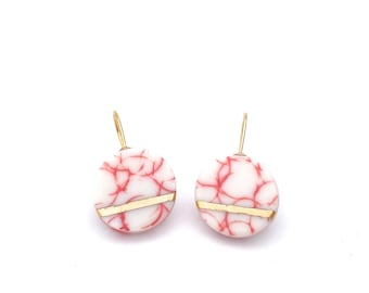 Pink White Porcelain jewelry, 18k solid gold earrings, ceramic earrings, marble earrings, modern minimalist earrings, gift for girlfriend,