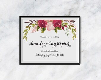 Printable Wedding Welcome Sign, Maroon Wine Rose Wedding Sign Printable