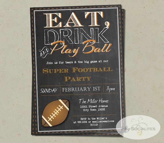 Adult Football Birthday Invitation