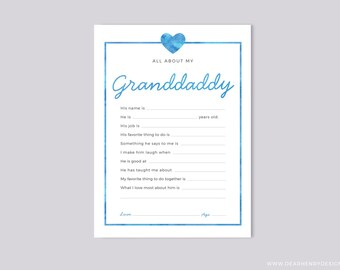 Printable All About My Granddaddy Instant Download, Grandfather Father's Day Questionnaire, Grandparent's Day Gift,  Blank card Grandkids
