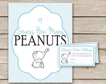 Blue Elephant Baby Shower Shower Peanut Guessing Game - Blue Guess How Many Peanuts Game - Printable Download - Elephant Peanut Game