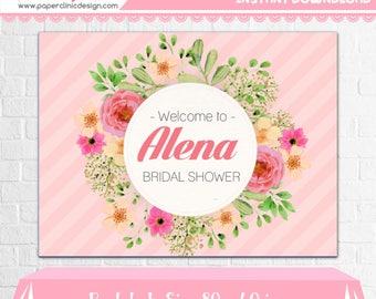 Floral Bridal Shower Backdrop - Pink Dessert Table Banner  Watercolor Flowers  - Pink Backdrop