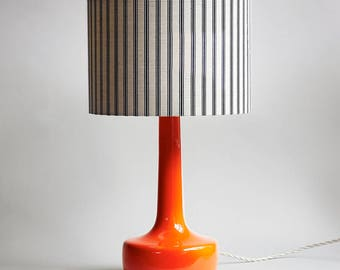 Bell Bottom Orange Table Lamp with Ticking Lampshade | Midcentury Table Lamp | Retro Lamp | Striped Lampshade |  Bright Orange Lamp