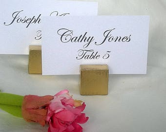 Gold Wood Place Card Holders Wood Cube Vintge Rustic or Gold Wedding Place Card Holders w Place Cards