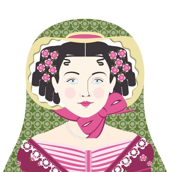English Rose Doll Art Print with traditional dress matryoshka