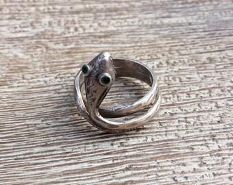 Silver Snake Ring Vintage Coiled Enamel Adjustable 800 Silver