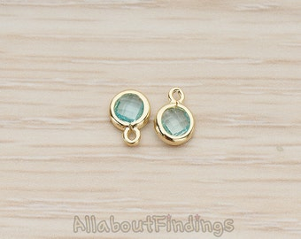 FST127-01-G-AQ// Glossy Gold Plated Round Framed Aqua Glass Stone Pendant, 2 Pc