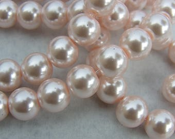 25 beads 10 mm w Pearlized Glass pale pink mother of Pearl hue