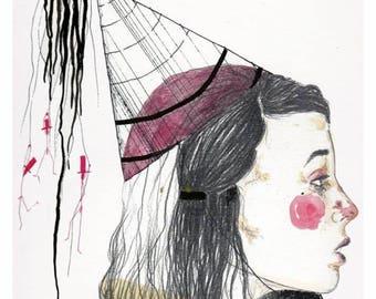 Bewilderment / Handmade drawing prints / Fine art