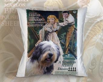 Polish Lowland Sheepdog Art Pillow Case Throw Pillow - A Streetcar Named Desire Movie Poster