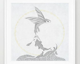 flying fish, line art, print of orginal drawing