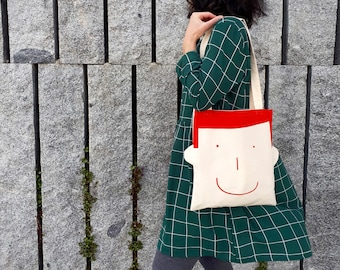 Fun tote bag with smiley boy face. Bag printed by hand in red. Canvas tote bag, best teacher appreciation. Tote bag for him or her by Olula