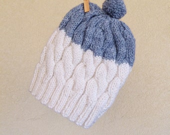 CLEARANCE | FINAL SALE | Hand knit Beanie, White and Grey, Warm Toque, Colorblock Hat, Winter Women Pom-Pom Hat