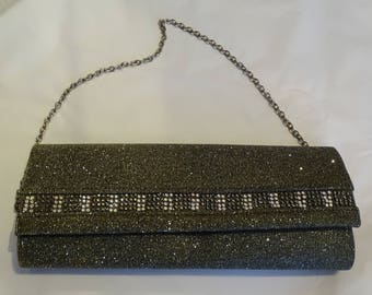 Vintage Clutch Evening Bag with chain Silver