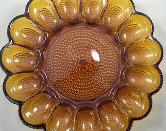 Vintage Amber Indiana Glass Egg Platter Amber