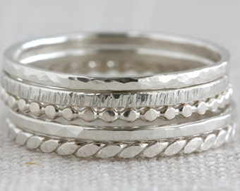 Set of Five Sterling Silver Textured Stack Rings