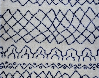 Shaggy Ivory Navy Blue Vancouver Area Rug